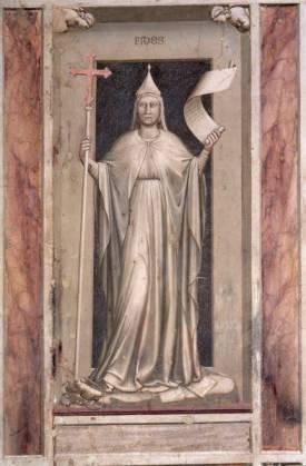 La Foi, Giotto, v. 1305. Détail de la fresque de la chapelle Santa Maria dell'Arena à Padoue.