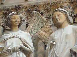 L'archange et Marie, cathédrale de Reims, v. 1211-1255