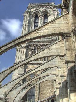 Les arcs-boutants de la nef de Notre-Dame de Paris auront bientôt huit siècles d'âge. Ils datent des environs de l'an 1230.